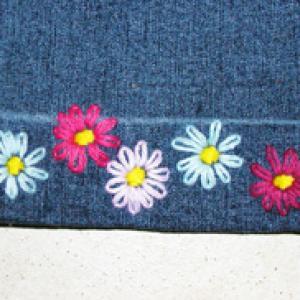 bordure brodée de fleurs