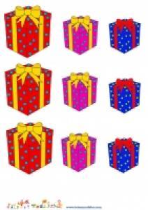 3 tailles et 3 couleurs de cadeaux de Noël a imprimer