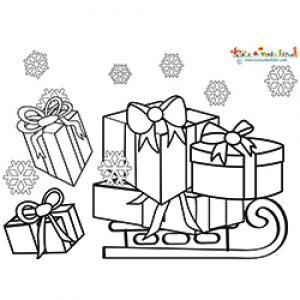 Les cadeaux de Noël tombent de la luge
