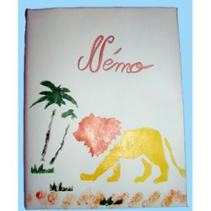 Cahier décoré au pochoir