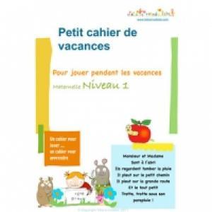 Cahier de Vacances maternelle niveau 1
