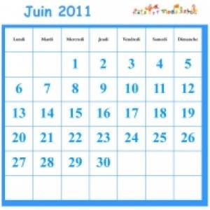JUIN 2011 grille du calendrier a cocher