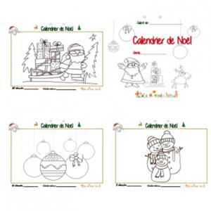 Coloriage d'un calendrier de Noël