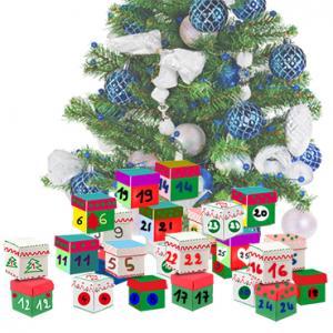Calendrier de Noël en boites empilées