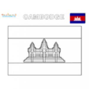 Coloriage drapeau du Cambodge