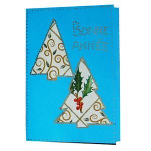 carte de voeux sapins en papier cadeau