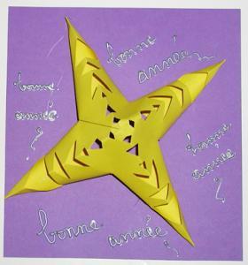 Fice d'explication pour fabriquer une carte de voeux étoile relief