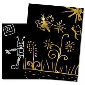 Dessiner sur des cartes à gratter or et argent en  vacances