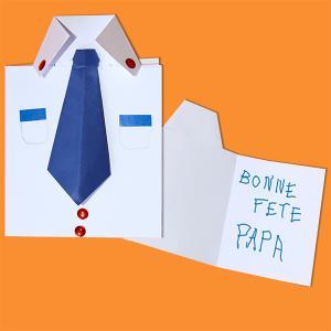 Voici une belle carte en origami en forme de chemise cravate à plier et à réaliser pour la fête des pères. Un pliage origami simple réalisable avec tous les enfants. A chaque enfant de choisir la couleur de la chemise et la couleur de la cravate pou