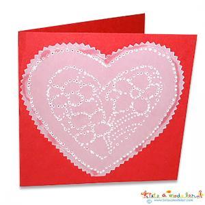 Carte coeur en piquage pour maman