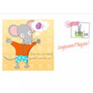 Carte de Pâques illustrée avec Mimi la souris