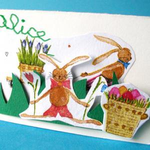 Fabriquer des carton porte nom de Pâques pour le repas