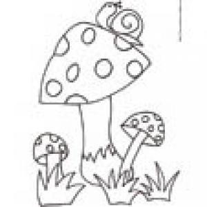 coloriage de 3 champignons et de l'escargot