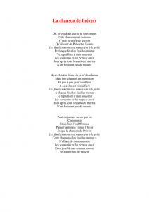 La chanson de Prévert