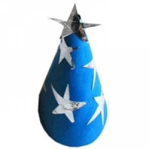 Chapeau de sorcier bleu aux étoiles