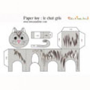 Paper toy chat tigré à imprimer
