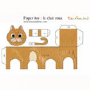 Paper toy du chat roux à imprimer