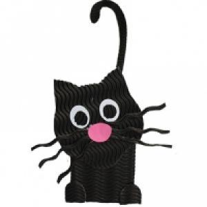 Chat noir en carton ondulé