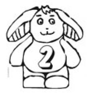 Coloriage du lapin portant le chiffre 2