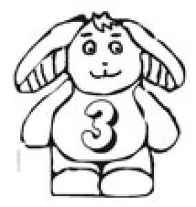 Coloriage du lapin portant le chiffre 3