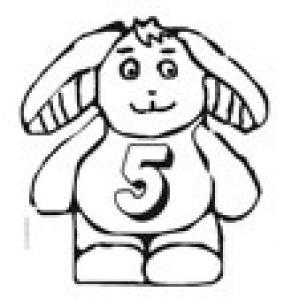 Coloriage du lapin portant le chiffre 5