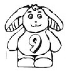 Coloriage du lapin portant le chiffre 9