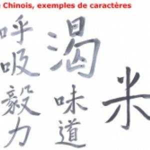Le chinois, caractères chinois