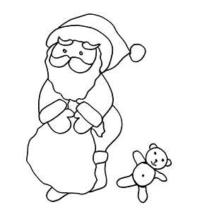 Coloriage du Père Noël et l'ours