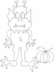 coloriage d'un monstre d'halloween