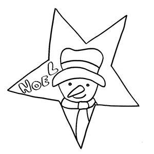 Coloriage naïf bonhomme dans l'étoile