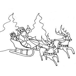 coloriage du traineau du Père Noël