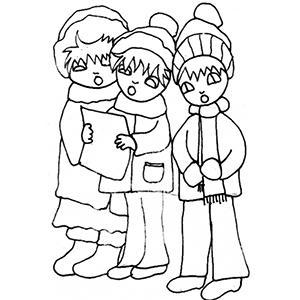 coloriage des enfants chantant Noël