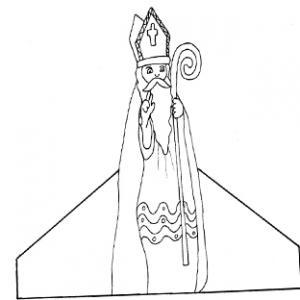 Coloriage d'un saint Nicolas à découper