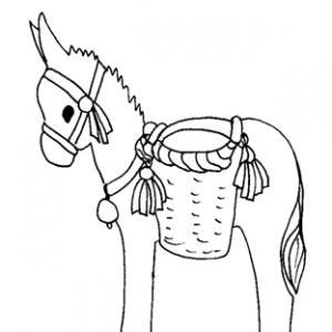 Coloriage de l'âne de saint Nicolas