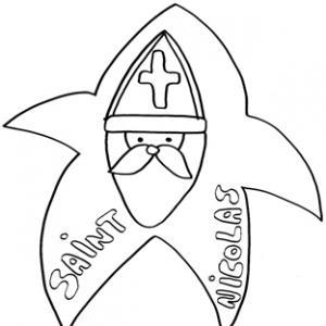 Coloriage naïfs de saint Nicolas dans l'étoile