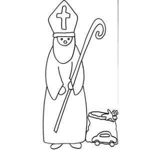 Coloriage naïf de saint Nicolas et son sac à jouets