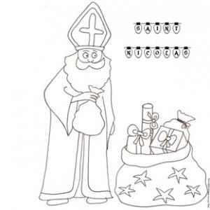 coloriage de saint Nicolas et ses sacs