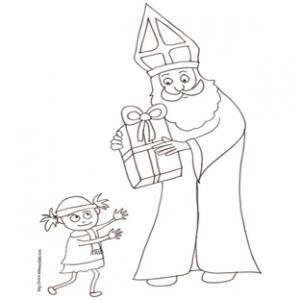 coloriage de saint Nicolas donnant son cadeau à une petite fille
