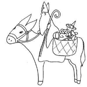 Coloriage de saint Nicolas sur l'âne aux cadeaux