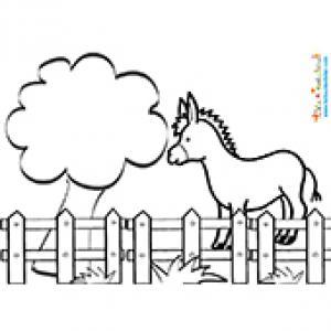 Coloriage de l'âne dans le pré
