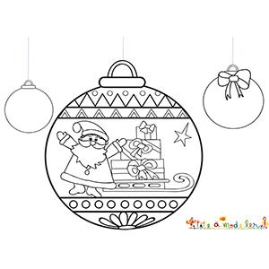 3 boules dont une décorée du Père Noël