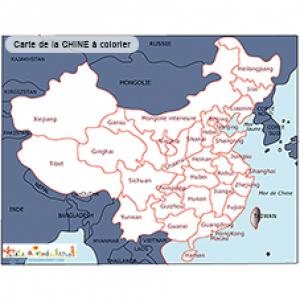 Carte de la Chine à colorier