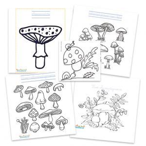 Coloriages de champignons et scènes d'automne