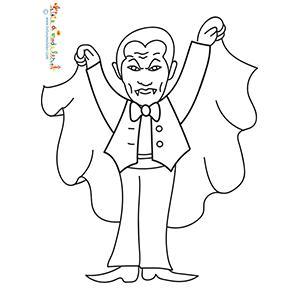 Coloriage de Dracula tenant sa cape noire les bras ouverts, un coloriage à imprimer pour jouer avec les vampires et Halloween.