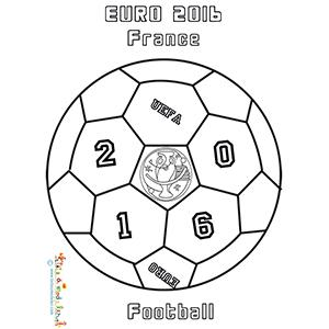 Coloriage d'un ballon Euro 2016 de football