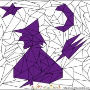 Solution du Jeu de coloriage géométrique : les triangles et Halloween n°2