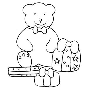 Coloriage de l'ours et les cadeaux