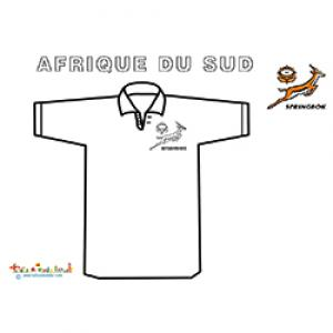 Coloriage du maillot de rugby d'Afrique du Sud