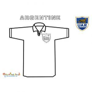 Coloriage du maillot de rugby d'Argentine