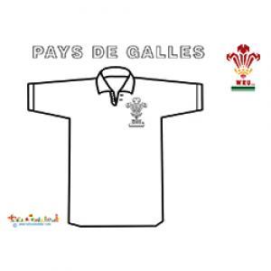 Coloriage du maillot de l'équipe de rugby du Pays de Galles